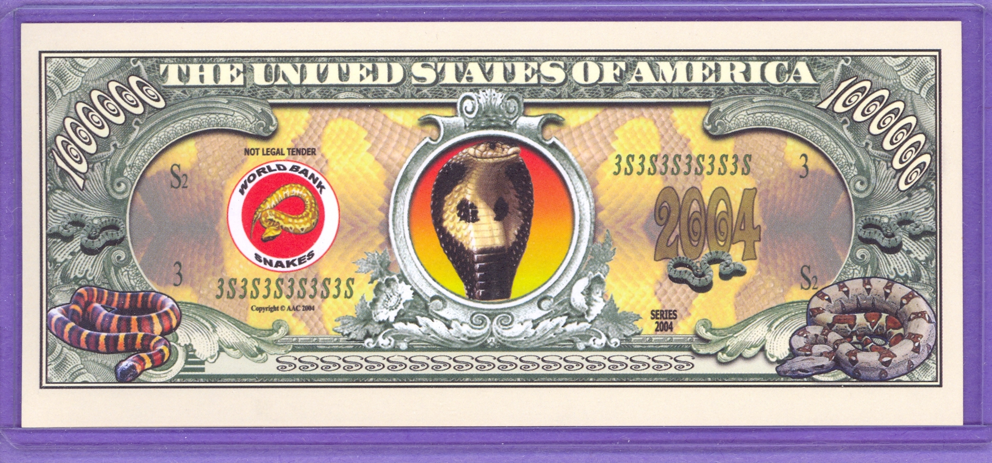 1,000,000 Snakes Novelty or Fantasy Money
